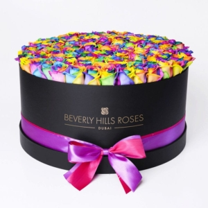 """100 Roses Delivery """"Candy Crush"""" in Large Black Box"""