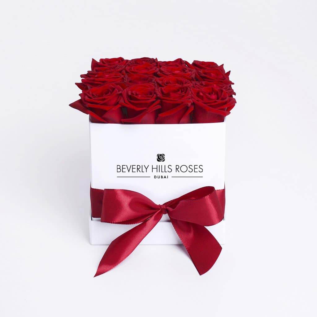 "Red Roses Dubai in ""Hollywood"" in Square White Rose Box"