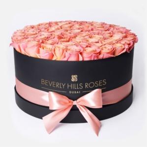 "Roses in Black Box ""Peach"" in Large Black Box"