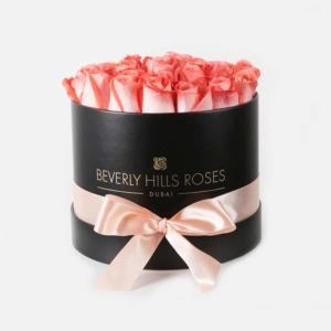"""Buy Rose Flowers Online """"Peach"""" in Medium Black Box"""