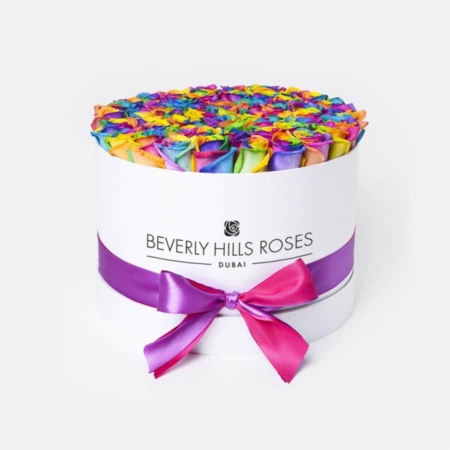 Rainbow roses in 'Candy Crush' – Medium white box