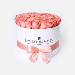 "Bouquet 50 Roses ""Peach"" in Medium White Box"