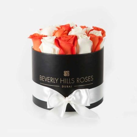 White & Orange roses in 'Sunrise' – Small black box
