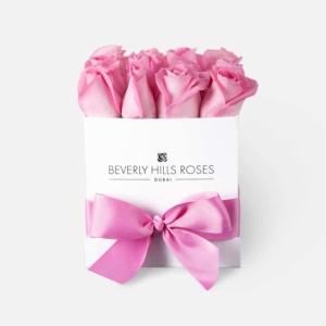 "Roses in Square Box ""Baby Girl"" in a White Square Box"