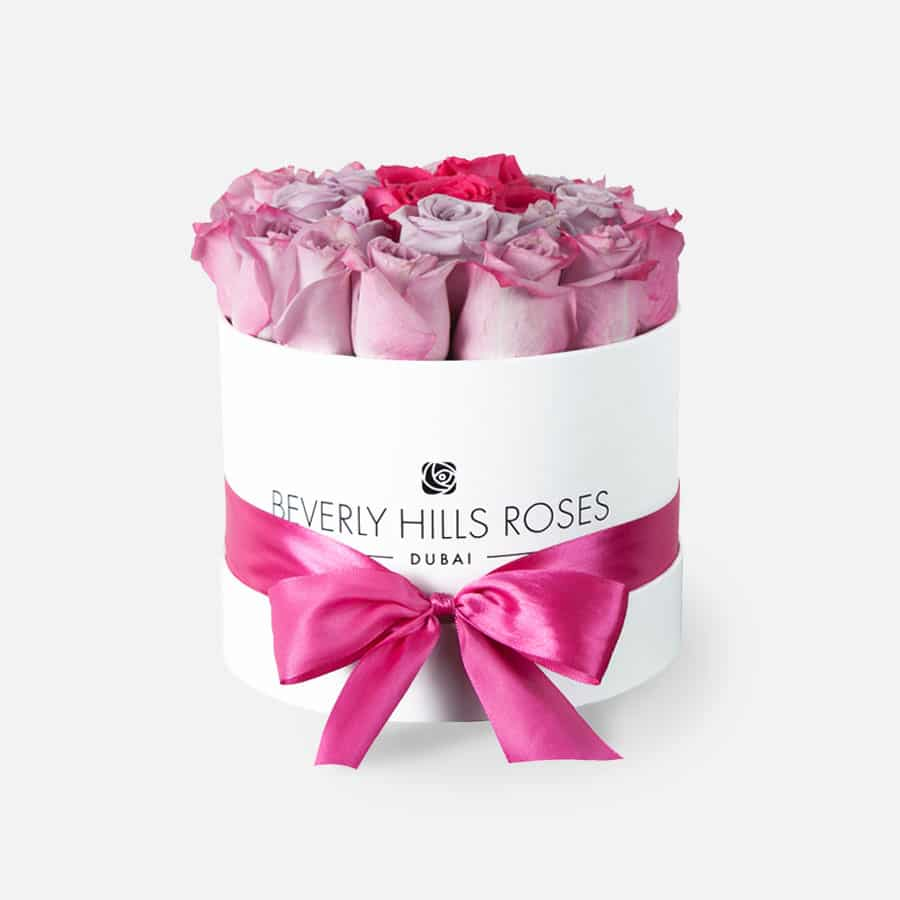 Small white rose box in pink rainbow