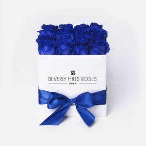 """12 Roses Bouquet """"Blue Lagoon"""" in Small Square Box"""
