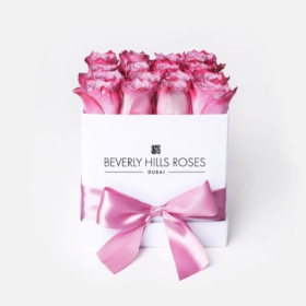 "Box of Roses Delivery ""Candy"" in White Square Box"