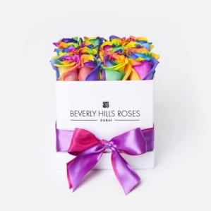 Rainbow Roses in a box for delivery in Dubai