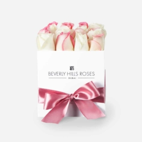 Pink & White roses in 'Cute' – Square box