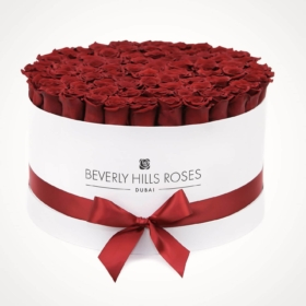 "100 roses in box ""Hollywood"" in Large White Rose Box"