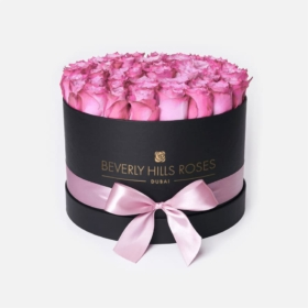 "Bouquet of Roses in a Box ""Candy"" in Medium Black Box"