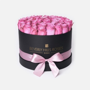"""Bouquet of Roses in a Box """"Candy"""" in Medium Black Box"""