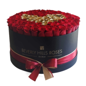"""Red Roses Online """"Love is in Gold"""" in Large Black Box"""