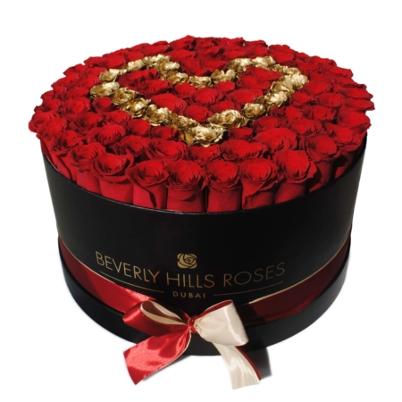 Red & Gold roses in 'Golden Heart' – Large black box