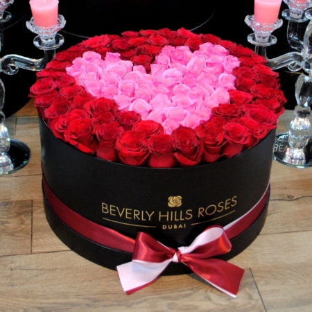Red & Pink roses in 'Passion' – Large black box