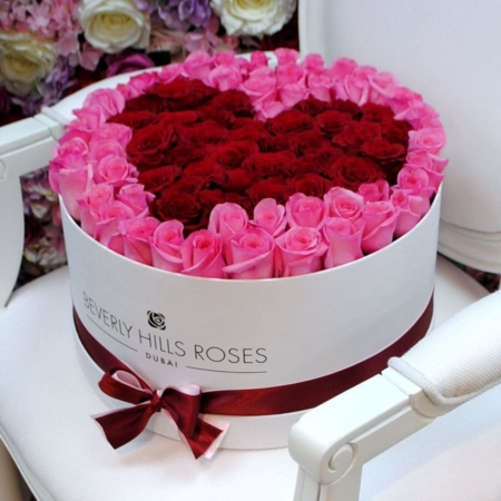Pink & Red roses in 'Affection' – Large white box