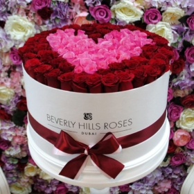 """Rose Flower Box """"Passion"""" in Large White Box"""