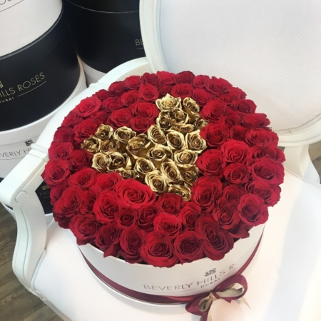 Red & Gold roses in 'Love is Gold' – Large white box
