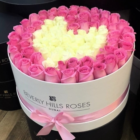 Pink & White roses in 'Charm' – Large white box