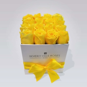 """Flower Delivery Roses """"Lemon"""" in Small Square Box"""