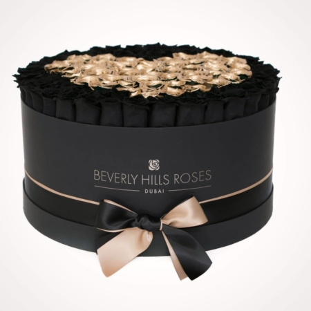Black & Gold roses in 'Love is Magic' – Large black box