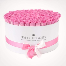 "100 stem roses ""Babygirl"" in Large White Rose Box"