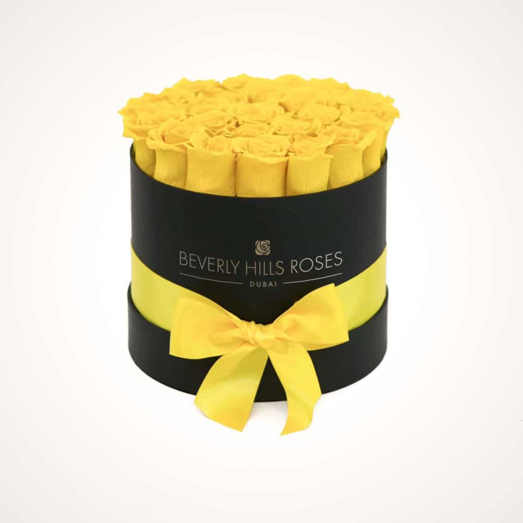 "Sending Roses ""Lemon"" in Small Black Box"