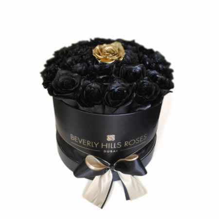 Black roses with a Gold rose in 'Fantasy' – Small black box
