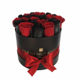 """Red Roses for Delivery """" Deep Love"""" in Medium Black box"""