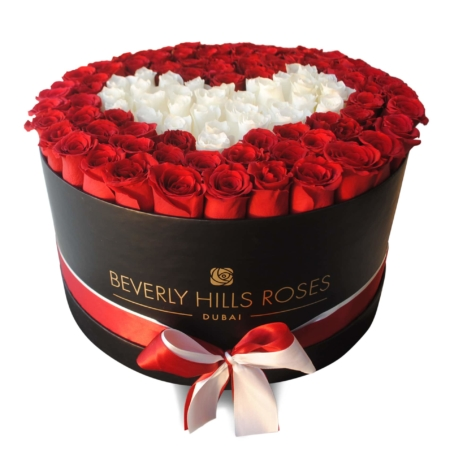 Red & White roses in 'Pure Love' – Large black box