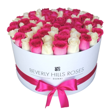 White & hot Pink roses in 'Flirt' – Large white box