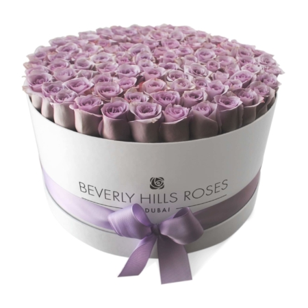 Light Purple roses in 'Vintage' – Large white box