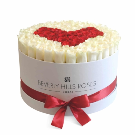 White & Red roses in 'Real Love' – Large white box