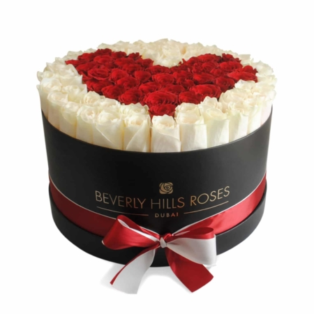 White & Red roses in 'Real Love' – Large black box