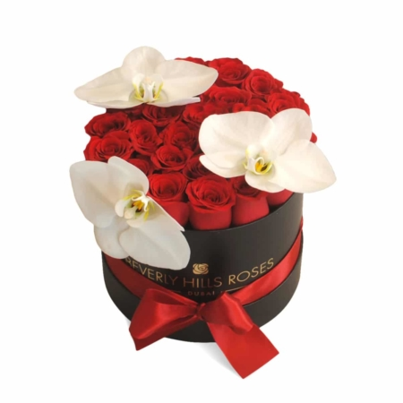 Red roses with White orchids in 'Hollywood Royal' – Small black box