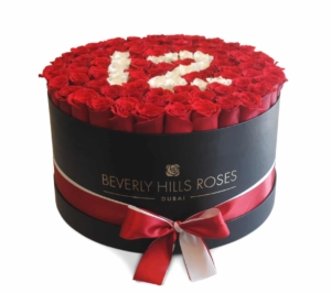 """100 red roses delivery in """"AGE"""" in Large Black Rose Box"""