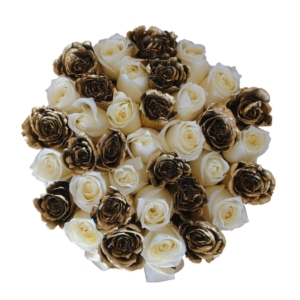 White & Gold roses in 'White Star'