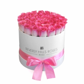 "Send Pink Roses ""Malibu"" in Medium White Box"