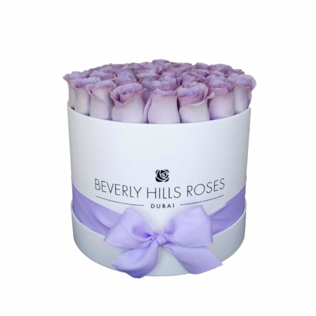Purple roses in 'Vintage' – Medium white box