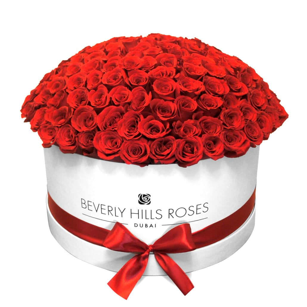 "Red Rose Delivery "" Hollywood Globe"" in Large White Box"