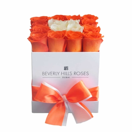Orange & White roses in 'White Sunset' – Square box
