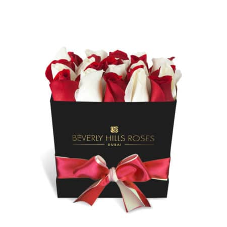Red & White roses in 'Little Love' – Square black box