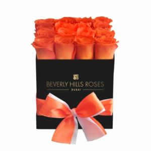 "Deliver Roses ""Sunset"" in Black square Rose Box"