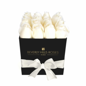 """White Roses Delivery """"Breeze"""" in small black square rose box"""