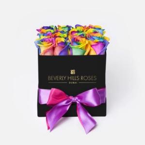 "Send Flowers Online Dubai ""Candy Crush"" in Square Black Rose Box"