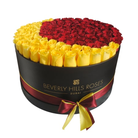 Red & Yellow roses in 'Crescent'
