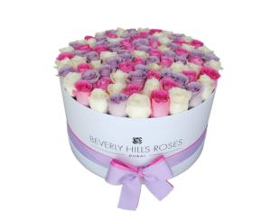 Purple, Pink, White roses in a luxury box