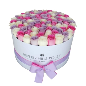 White, Pink & Purple roses in 'Fairy Tale'