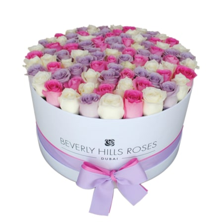 White, Pink & Purple roses in 'Fairy Tale' – Large white box