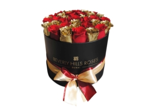 Red & gold rose in Rose Box